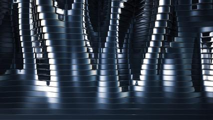 Blue black background with lines. 3d illustration, 3d rendering.