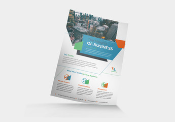 Multicolored Flyer Layout with Diagonal Abstract Elements