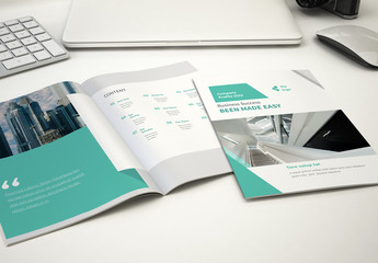 Brochure Layout with Green Accents