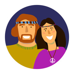 Vector portrait of smiling hippie man and woman in a circle
