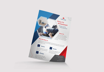 Flyer Layout with Hexagonal Elements and Colorful Accents