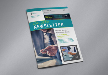 Newsletter Layout with Turquoise Accents