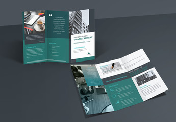 Trifold Brochure Layout with Dark Green Accents