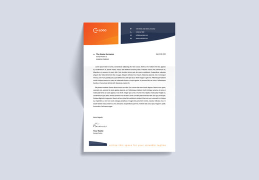 Letterhead Layout with Orange and Navy Accents