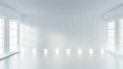 White empty interior, white room with windows, background. 3d illustration, 3d rendering.