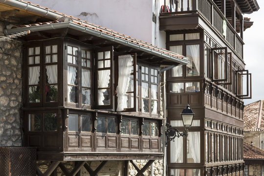 facades with wooden galleries in Comillas, Cantabria
