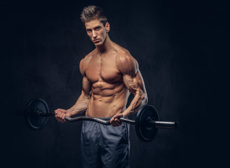 Handsome shirtless man with stylish hair and muscular ectomorph doing the exercises with the barbell.