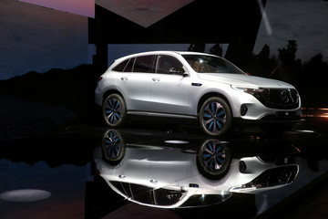 A Mercedes EQC, new electric SUV unveils by Mercedes-Benz, is seen at Artipelag art gallery in Gustavsberg