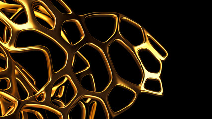 Abstract gold mesh on a black background. 3d illustration, 3d rendering.