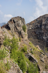 Crater of Italy biggest volcano Vesuvius. Panorama view.