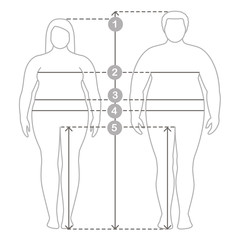 Contours of overweight man and women in full length with measurement lines of body parameters . Man and women clothes plus size measurements. Human body measurements and proportions.