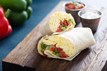 Vegetarian breakfast burrito with eggs