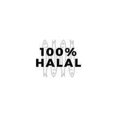 100% halal fish meat sign badge label logo vector icon illustration