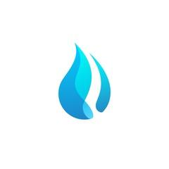 water drop blue logo wave icon vector