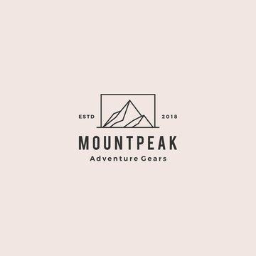 mount peak mountain logo hipster vintage retro vector icon illustration