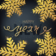 Greeting card, invitation with happy New year 2019.Hand written