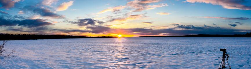 Apatity, Kola Peninsula. Sunset on lake Tikosero Panorama view.