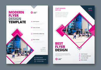 Flyer Layout with Layered Diamond Shapes