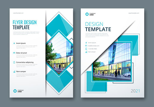 Flyer Layout with Layered Abstract Shapes