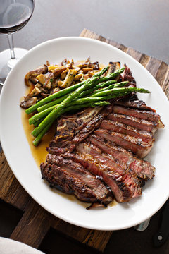 Beef steak with asparagus and mushrooms