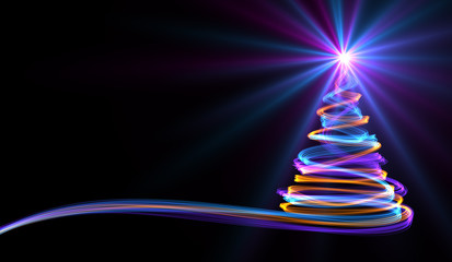 Christmas Tree From Yellow, Blue And Purple Neon Streaks. 3D Illustration.