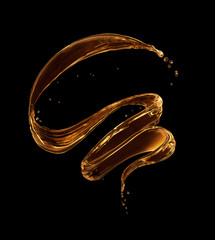 Fototapete - Splashes of oily liquid in a swirling shape on a black background