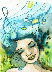 Fotobehang Schilderkunstige Inspiratie Watercolor illustration depicting a fancy woman's portrait.