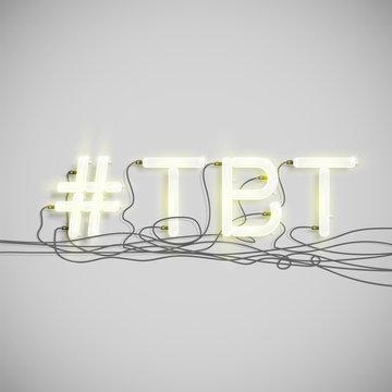 Realistic neon hashtag  word, vector illustration