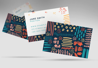 Business Card Layout with Abstract Lines