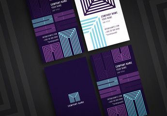 Four Business Card Layouts with Geometric Elements