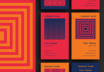Six Business Card Layouts with Patterns
