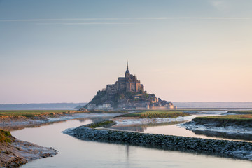 Famous Mont Saint Michel cathedral, Normandy, France, Europe
