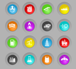 extraction of oil colored plastic round buttons icon set