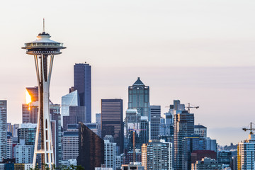 A Seattle skyline early in the morning Wall mural