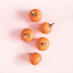 Autumn composition. Pumpkins on pastel pink background. Autumn, fall, halloween concept. Flat lay, top view, square