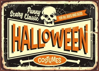 Halloween costumes retro shop sign board. Vintage Halloween poster card with skull on black background.