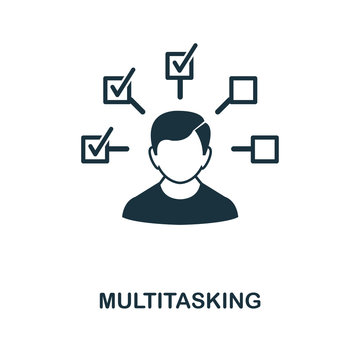 Multitasking icon. Monochrome style design from management icon collection. UI. Pixel perfect simple pictogram multitasking icon. Web design, apps, software, print usage.