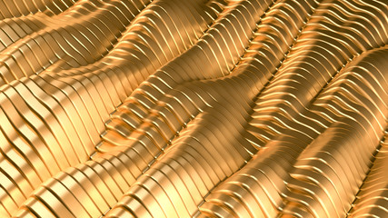 Gold metal background with waves and lines. 3d illustration, 3d rendering.
