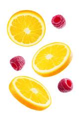 Flying Oranges with raspberries