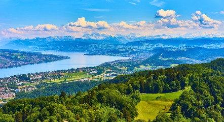 Panoramic view over Lake of Zurich in Switzerland / Alps in the background
