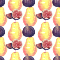 Seamless pattern with pear and fig fruits on white