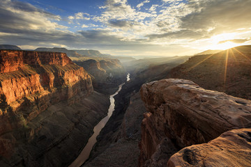 Wall Murals Deep brown Golden sunset rays in the Grand Canyon, Arizona, USA.