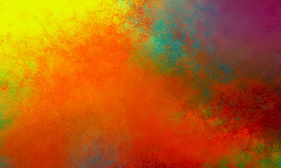 abstract background design in colorful orange gold yellow purple blue green and red colors an texture, sunset clouds or sunrise painting or illustration concept