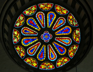 Stained Glass Round Window at the Basilica Santa Croce, Florence