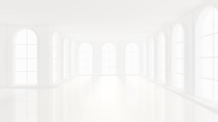 Luxurious white empty interior with windows. 3d illustration, 3d rendering.