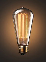 Old bulb lamp filament on light background. 3d