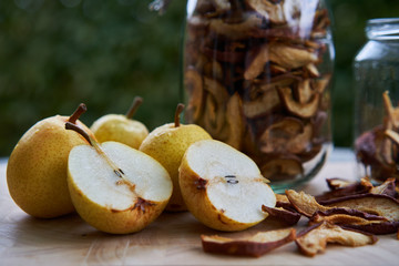 Dried pears cooking, traditional home preservation of riped fruits, mainly pears, apples or plums, to keep nutritions and vitamins for winter for cooking or light snack.