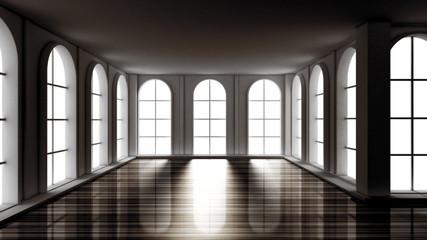 Luxury gloomy empty interior. 3d illustration, 3d rendering.