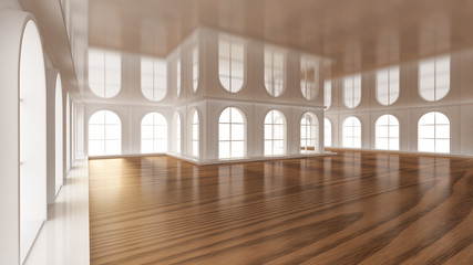 Luxurious white empty interior. 3d illustration, 3d rendering.