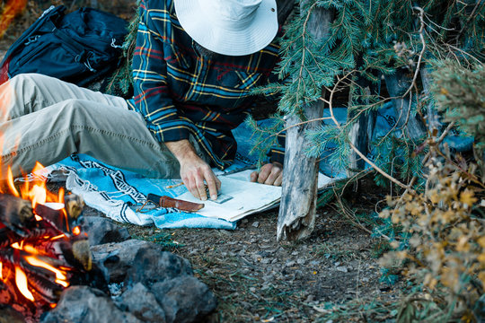 Wilderness Camping Navigation With A Compass And Map